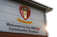 8th November 2020; SkyEx Community Stadium, London, England; Football Association Cup, Hayes and Yeading United versus Carlisle United; General view of outside SkyEX Community Stadium as the sun rises over the ground