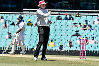 11th January 2021; Sydney Cricket Ground, Sydney, New South Wales, Australia; International Test Cricket, Third Test Day Five, Australia versus India; umpire Paul Wilson signals four runs