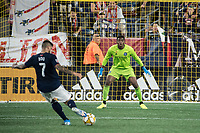 FOXBOROUGH, MA - SEPTEMBER 29: Sean Johnson #1 of New York City FC readies for a shot on goal during a game between New York City FC and New England Revolution at Gillettes Stadium on September 29, 2019 in Foxborough, Massachusetts.