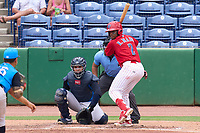 Clearwater Threshers Edgar Made (2) bats in front of catcher Carlos Narvaez (5) and umpire Rainiero Valero during a game against the Tampa Tarpons on June 13, 2021 at BayCare Ballpark in Clearwater, Florida.  (Mike Janes/Four Seam Images)