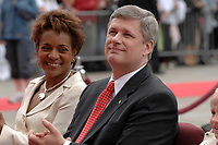 Ottawa (ON) CANADA, July 1st, 2007 -<br /> <br /> Michaelle Jean  ;  Governor General (L) and<br /> Stephen Harper, Prime Minister of canada (R)<br />  during<br /> Canada day celebration in the national capital.<br /> photo : (c)  Michel Karpoff - Images Distribution