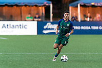 HARTFORD, CT - JULY 10: Younes Boudadi #3 of Hartford Athletic brings the ball forward2 during a game between New York Red Bulls II and Hartford Athletics at Dillon Stadium on July 10, 2021 in Hartford, Connecticut.