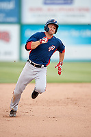 Potomac Nationals right fielder Rhett Wiseman (9) runs the bases during the first game of a doubleheader against the Lynchburg Hillcats on June 9, 2018 at Calvin Falwell Field in Lynchburg, Virginia.  Lynchburg defeated Potomac 5-3.  (Mike Janes/Four Seam Images)