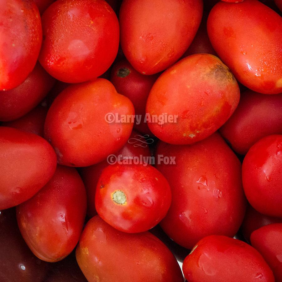 Colorful red roma tomatoes, Mare 66 beach resort, Litochoro, Greece