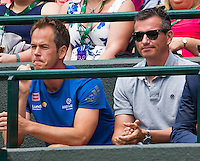 London, England, 28 june, 2016, Tennis, Wimbledon, Richard Krajicek (NED) coach of Stanislas Wawrinka (SUI) left Magnus Norman<br /> Photo: Henk Koster/tennisimages.com