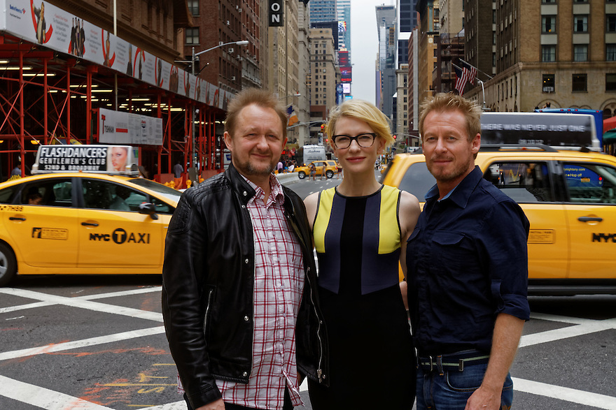 Australian actors Richard Roxburgh (R) and Cate Blanchett will star in the Sydney Theatre Companys' production of the  Chekhov play Uncle Vanya at the Lincoln Center in New York City. They are pictured July 19, 2012 at the  Meridien hotel with Cate Blanchetts' husband and co- artistic director of the company Andrew Upton.