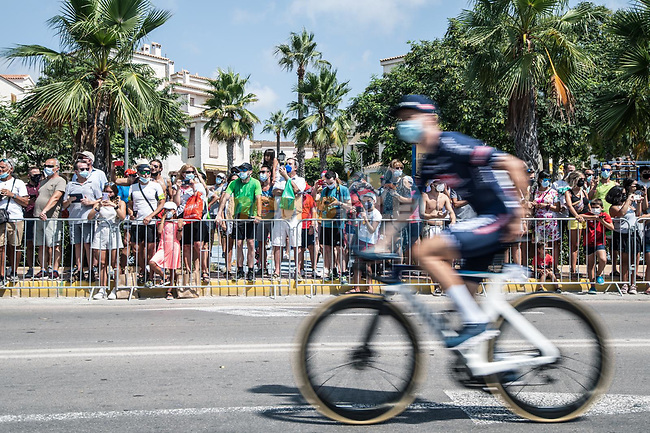 Alpecin Fenix arrive at sign on before the start of Stage 8 of La Vuelta d'Espana 2021, running 173.7km from Santa Pola to La Manga del Mar Menor, Spain. 21st August 2021.     <br /> Picture: Charly Lopez/Unipublic   Cyclefile<br /> <br /> All photos usage must carry mandatory copyright credit (© Cyclefile   Unipublic/Charly Lopez)