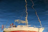 DENMARK, Bornholm , reflection of sailing boat in harbour / Daenemark, Bornholm, Reflektion eines Segelboot im Hafen