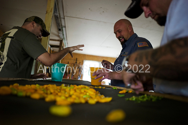 Jacksonville, Florida<br /> November 4, 2013<br /> <br /> Veteran's sustainable farm founded by Purple Heart veteran Adam Burke and managed by Afghan and Iraqi veteran Steve Ellseberry.<br /> <br /> Marines Trey Evans (center) and Shaun Vladivia tell combat stories as they sort peppers. Steve Ellseberry listens (on the right) to them.
