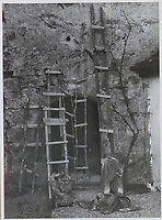 BNPS.co.uk (01202 558833)<br /> Pic: IronCrossMagazine/BNPS<br /> <br /> Pictured: Ladders recovered from one of the tunnels.<br /> <br /> The comical escape attempts made by British officers from a German prisoner of war camp called Castle Tittmoning have been revealed 80 years later.<br /> <br /> The desperate efforts to break out of the little known but rude sounding camp included three men who hid inside a cramped fireplace for eight days before being found by guards covered in soot.<br /> <br /> Other officers hid under piles of rubbish on a horse-drawn cart and allowed themselves to be driven out of the fortress before they were discovered.<br /> <br /> The men expertly made German uniforms out of blankets and brazenly walked out of the camp disguised as guards before being rumbled.