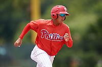 GCL Phillies East second baseman Nicolas Torres (18) runs the bases during a game against the GCL Blue Jays on August 10, 2018 at Carpenter Complex in Clearwater, Florida.  GCL Blue Jays defeated GCL Phillies East 8-3.  (Mike Janes/Four Seam Images)