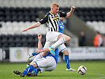 St Mirren v St Johnstone...19.10.13      SPFL<br /> Connor Newton is taken out by Frazer Wright<br /> Picture by Graeme Hart.<br /> Copyright Perthshire Picture Agency<br /> Tel: 01738 623350  Mobile: 07990 594431