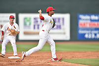 Johnson City Cardinals shortstop Oscar Mercado #4 during a game against the Bristol Pirates at Howard Johnson Field July 20, 2014 in Johnson City, Tennessee. The Pirates defeated the Cardinals 4-3. (Tony Farlow/Four Seam Images)