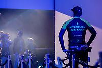 Edoardo Affini (ITA/Mitchelton Scott) at the pre race team presentation<br /> <br /> 74th Omloop Het Nieuwsblad 2019 (BEL)<br /> Gent – Ninove: 200km<br /> ©kramon