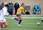 BROOKINGS, SD - MARCH 14: Kaycee Manding #25 from South Dakota State looks for a teammate against Denver during their match at Dana J. Dykhouse Stadium on March 14, 2021 in Brookings, South Dakota. (Photo by Dave Eggen/Inertia)