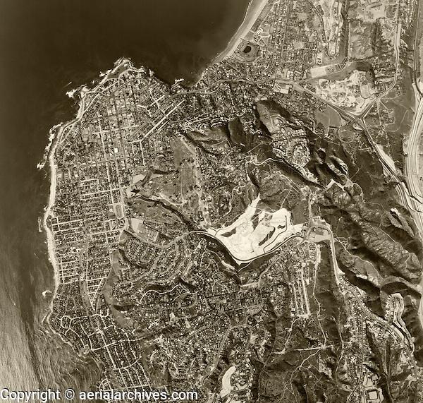 historical aerial photograph LaJolla, California, 1966