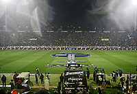 Pictured: Interior view of Toumba Stadium in Thessaloniki, Greece. Sunday 25 February 2018<br /> Re: Sunday's Greek Super League derby between PAOK Thessaloniki and Olympiakos was called off after Olympiakos' manager Oscar Garcia was struck in the face by an object believed to be a till machine paper roll, thrown by a spectator minutes before kick-off.<br /> Garcia left Toumba Stadium for a local hospital to seek treatment for a bloodied lip.<br /> The incident prompted the Olympiakos team to leave the pitch in protest before riots erupted outside the ground.<br /> Angry PAOK fans leaving the stadium then clashed with police who used tear gas to quell the violence.