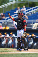Batavia Muckdogs catcher Bryan De La Rosa (15) signals one out during a game against the West Virginia Black Bears on June 25, 2017 at Dwyer Stadium in Batavia, New York.  West Virginia defeated Batavia 6-4 in the completion of the game started on June 24th.  (Mike Janes/Four Seam Images)