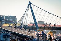 crossing the suspended cycling bridge<br /> <br /> 2020 Urban Cross Kortrijk (BEL)<br /> men's race<br /> <br /> ©kramon