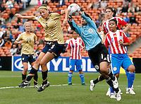 Paraguay goalkeeper Zulma Orue gets to the ball ahead of Vicki Dimartino (USA)..FIFA U17 Women's World Cup, Paraguay v USA, Waikato Stadium, Hamilton, New Zealand, Sunday 2 November 2008. Photo: Renee McKay/PHOTOSPORT