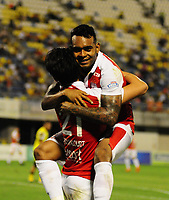 BARRANCABERMEJA- COLOMBIA - 17 - 02 - 2018: Los jugadores de Independiente Santa Fe, celebran el gol anotado a Alianza Petrolera durante partido Alianza Petrolera y el Independiente Santa Fe, de la fecha 4 por la Liga Aguila I 2018 en el estadio Daniel Villa Zapata en la ciudad de Barrancabermeja. / The players of Independiente Santa Fe, celebrate a scored goal to Alianza Petrolera during a match between Alianza Petrolera and Independiente Santa Fe, of the 4th date for the Liga Aguila I 2018 at the Daniel Villa Zapata stadium in Barrancabermeja city. Photo: VizzorImage  / Jose D Martinez / Cont.