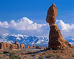 Arches National Park, UT: Balanced Rock with Garden of Eden and LaSal mountains in the distance