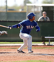 Tomas Telis of the Texas Rangers  plays in a minor league spring training game against the San Diego Padres at the Rangers complex on March 26, 2011  in Surprise, Arizona. .Photo by:  Bill Mitchell/Four Seam Images.