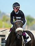 August 8, 2011.Chantal Sutherland riding Parable after losing the match race against Mike Smith riding Joker Face at Del Mar Thoroughbred Club, Del Mar CA