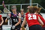 GER - Hannover, Germany, May 30: During the Women Lacrosse Playoffs 2015 match between SCC Blax Berlin (red) and KIT SC Karlsruhe (black) on May 30, 2015 at Deutscher Hockey-Club Hannover e.V. in Hannover, Germany. Final score 17:7. (Photo by Dirk Markgraf / www.265-images.com) *** Local caption *** Elisabeth Vielhaber #34 of KIT SC Karlsruhe