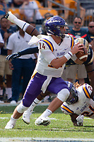 Albany quarterback Vincent Testaverde. The Pitt Panthers football team defeated the Albany Great Danes 33-7 on September 01, 2018 at Heinz Field, Pittsburgh, Pennsylvania.