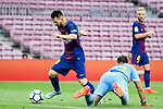 Lionel Andres Messi of FC Barcelona (L) in action during the La Liga 2017-18 match between FC Barcelona and Las Palmas at Camp Nou on 01 October 2017 in Barcelona, Spain. (Photo by Vicens Gimenez / Power Sport Images