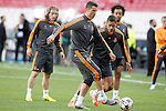Real Madrid's Luka Modric, Cristiano Ronaldo, Raphael Varane and Marcelo Vieira during training session previous to the UEFA Champions League 2013/2014 Final match.May 23,2014. (ALTERPHOTOS/Acero)