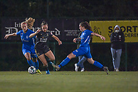 Genk's forward Carolina Wolters (9) and OHL's forward Jill Janssens (7) pictured during a female soccer game between  Racing Genk Ladies and Oud Heverlee Leuven on the fourth matchday of the 2020 - 2021 season of Belgian Scooore Womens Super League , friday 9 th of October 2020  in Genk , Belgium . PHOTO SPORTPIX.BE | SPP | STIJN AUDOOREN