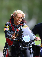 Aug 20, 2016; Brainerd, MN, USA; NHRA pro stock motorcycle rider Angie Smith during qualifying for the Lucas Oil Nationals at Brainerd International Raceway. Mandatory Credit: Mark J. Rebilas-USA TODAY Sports