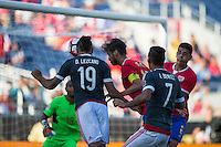 Orlando, Florida - Saturday, June 04, 2016: Paraguayan forward Dario Lezcano (19) beats Costa Rican midfielder Bryan Ruiz (10) to head the ball on goal during a Group A Copa America Centenario match between Costa Rica and Paraguay at Camping World Stadium.