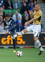 MELBOURNE, AUSTRALIA - DECEMBER 27: Ricardinho of the Victory kicks the ball during the round 20 A-League match between the Melbourne Victory and the Newcastle Jets at AAMI Park on December 27, 2010 in Melbourne, Australia. (Photo by Sydney Low / Asterisk Images)