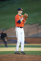 Virginia Cavaliers starting pitcher Noah Murdock (28) looks to his catcher for the sign against the Wake Forest Demon Deacons at David F. Couch Ballpark on May 18, 2018 in  Winston-Salem, North Carolina.  The Cavaliers defeated the Demon Deacons 15-3.  (Brian Westerholt/Four Seam Images)