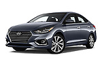 Stock pictures of low aggressive front three quarter view of a 2018 Hyundai Accent Limited 4 Door Sedan