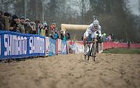 Wout Van Aert (BEL/Crelan-Vastgoedservice) high speed balancing i the sand<br /> <br /> 2016 CX UCI World Cup Zeven (DEU)