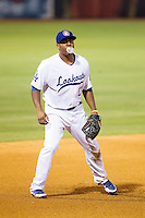 Chattanooga Lookouts third baseman Daniel Mayora (17) blows a bubble while playing defense against the Montgomery Biscuits at AT&T Field on July 24, 2014 in Chattanooga, Tennessee.  The Biscuits defeated the Lookouts 6-4. (Brian Westerholt/Four Seam Images)