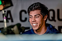 25 March 2019: Milwaukee Brewers outfielder Christian Yelich is interviewed prior to an exhibition game against the Toronto Blue Jays at Olympic Stadium in Montreal, Quebec, Canada. The Brewers defeated the Blue Jays 10-5 in the first of two MLB pre-season games in the former home of the Montreal Expos. Mandatory Credit: Ed Wolfstein Photo *** RAW (NEF) Image File Available ***
