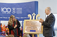 Pictured: (L-R) Julie James AM and Andrew Rhodes, Registrar unveil the commemorative plaque. Monday 04 February 2019<br /> Re: Opening of the Computational Foundry at the Swansea University Bay Campus, south Wales, UK.