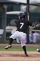 AZL White Sox designated hitter Nick Madrigal (7) at bat during an Arizona League game against the AZL Diamondbacks at Camelback Ranch on July 12, 2018 in Glendale, Arizona. The AZL Diamondbacks defeated the AZL White Sox 5-1. (Zachary Lucy/Four Seam Images)