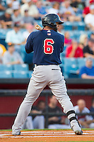 Jonathan Villar (6) of the Oklahoma City RedHawks at bat against the Nashville Sounds at Greer Stadium on July 25, 2014 in Nashville, Tennessee.  The Sounds defeated the RedHawks 2-0.  (Brian Westerholt/Four Seam Images)