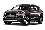 Stock pictures of low aggressive front three quarter view of a 2018 Hyundai Tucson Premium 5 Door SUV