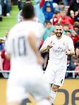 Real Madrid's Karim Benzema (r) and James Rodriguez celebrate goal during La Liga match. April 16,2016. (ALTERPHOTOS/Acero)