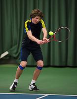 Rotterdam, The Netherlands, 07.03.2014. NOJK ,National Indoor Juniors Championships of 2014, Luuk Wassenaar (NED)  Lucas Bos (NED)<br /> Photo:Tennisimages/Henk Koster
