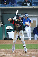 Chase Jensen (20) of the Lake Elsinore Storm bats against the Rancho Cucamonga Quakes at LoanMart Field on April 10, 2016 in Rancho Cucamonga, California. Lake Elsinore defeated Rancho Cucamonga, 7-6. (Larry Goren/Four Seam Images)