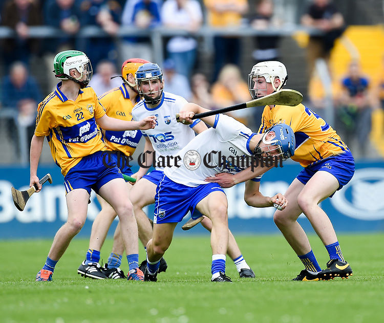 Paddy Leevy of Waterford  in action against Aidan Moriarty of Clare during their Munster  championship round robin game at Cusack Park Photograph by John Kelly.