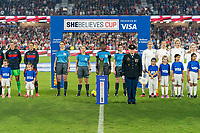 ORLANDO, FL - MARCH 05: The military escort stands during the introduction during a game between England and USWNT at Exploria Stadium on March 05, 2020 in Orlando, Florida.